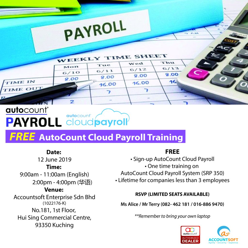 Yes! It's FREE AutoCount Cloud Payroll Training!  Find out more details.