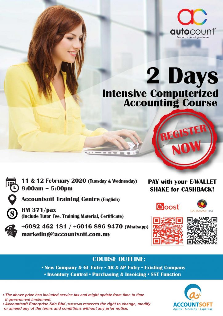 ???? Good News! Master AutoCount Accounting in just 2 Days is back this 11 & 12 February 2020. If there's any enquiries don't hesitate to give us a call +6082-462 181 / +6016 886 9470 (Ms Alice / Ms Tiffany / Mr Terry)