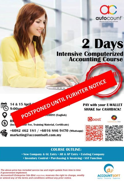 Dear valued customers, due to yesterday announcement by the government that the Movement Control Order (MCO) period has been extended and our 2 Days Intensive Computerized Accounting Course (14 & 15 April 2020) will be postponed until further notice. We sincerely apologize for any inconvenience caused. 🙇🏻♀️🙇🏻♂️  For those already registered we will do some arrangement. Do always follow us on Facebook for more latest update. Stay strong and safe. Thank you. 🙏🏻